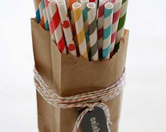 350 Printed Design Paper Straws with Editable PDF File - Stripes and Dots - Mix and Match Up to Five Colors - Weddings - Parties - Favors