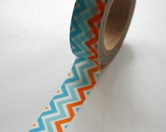 Washi Tape - 15mm - Multi Colored Turquoise Orange Aqua Chevron Pattern - Deco Paper Tape No. 482