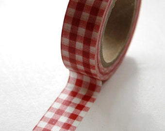 Washi Tape - 15mm - Red and White Gingham - Deco Paper Tape No. 78