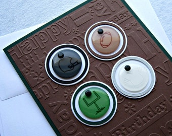 Football Embossed Birthday Card in Chocolate Brown and Hunter Green