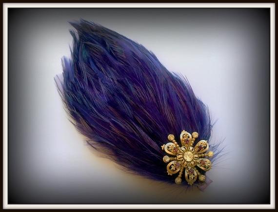 Purple Feather Fascinator with Vintage Rhinestone Pin