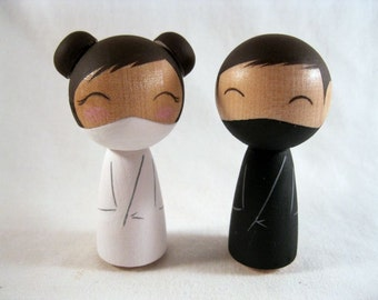 Kokeshi Wedding Ninjas Cake Topper