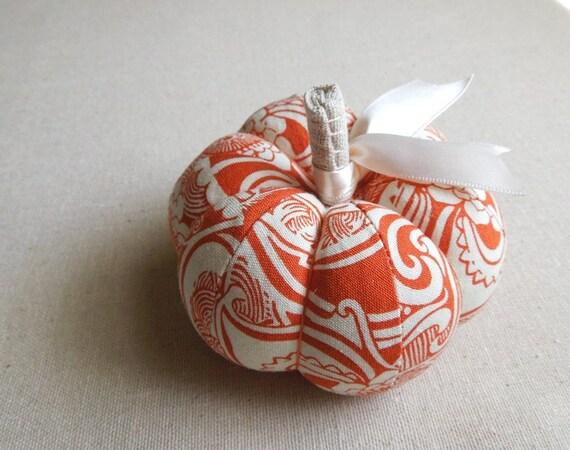 Orange and White Fabric Pumpkin Pincushion