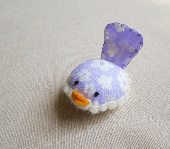 Handmade Decorative Bird in Lavender and White Floral