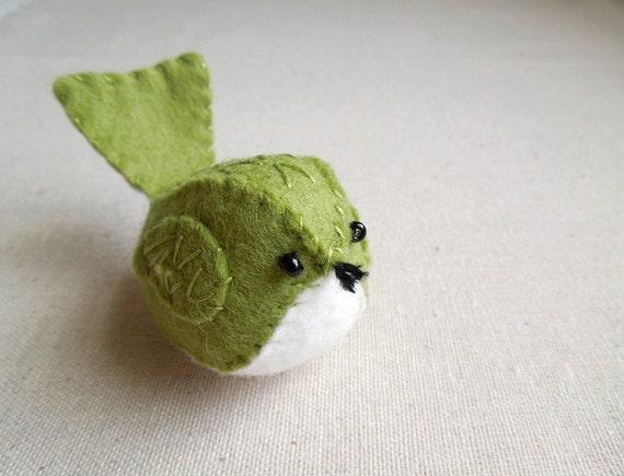 Embroidered Green Felt Bird