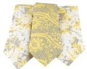 Necktie Trio Set - White Yellow Gray Wedding Neckties - Three Neckties Newborn through Adult Sizes