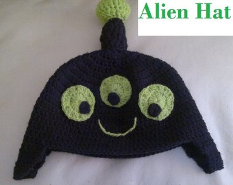 NEW Free Shipping to USA - Black Alien Hat -  Adult  Size Inspired Reddit Alien Hat Earflap - Ready to Ship