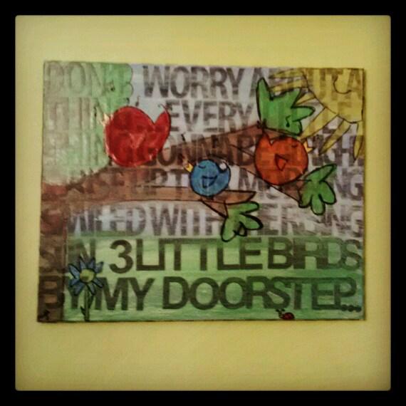 Original Mixed Media Collage Canvas-Bob Marley Lyrics-Nursery Decor-Not A Print