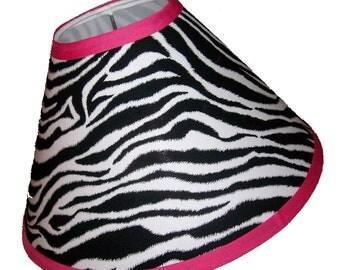Zebra Print Lamp Shade with Hot Pink Trim
