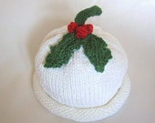 READY TO SHIP Holiday Holly Hat, Knit Cotton Baby Hat,  great photo prop