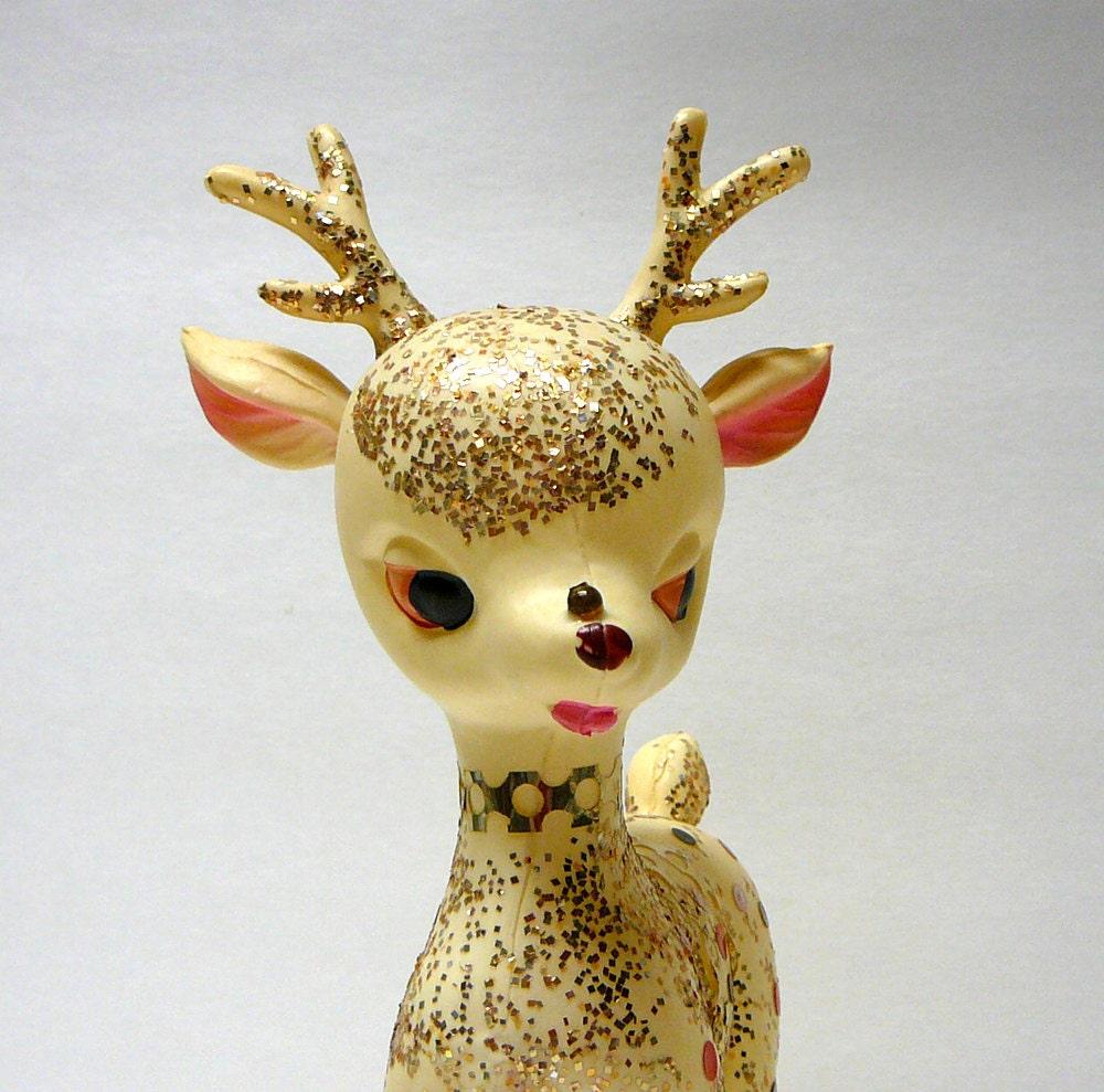 1950s vintage christmas decoration deer glitter by evelynnsalcove. Black Bedroom Furniture Sets. Home Design Ideas