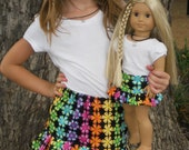 18 Inch American Girl Doll Clothes Matching Doll and Girl Rainbow Flower Skirt Ready to Ship