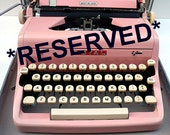 Reserved-judymow   PINK 1950s Royal Typewriter with Case