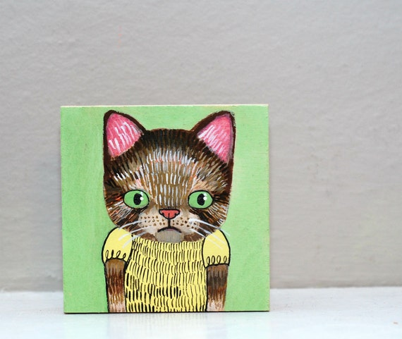 cat girl (original painting on wood)