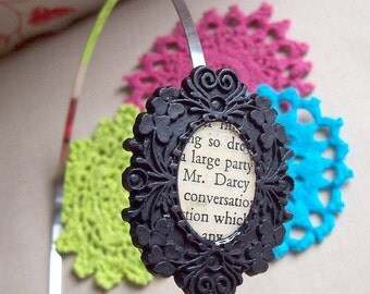 Pride and Prejudice Headband Mr Darcy Jane Austen Black Cameo. Alice Band Swirls Floral Noir Two Cheeky Monkeys. Words Text Literature Book