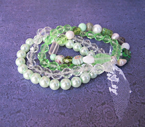image multistrand bracelet creme de menthe two cheeky monkeys jewellery pearls green mint pastel spring