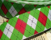 "3 yards 1.5"" Grinch Argyle Red White and Green grosgrain Ribbon"