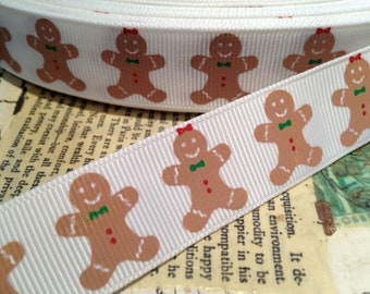 7/8' CHRISTMAS Darling GINGERBREAD Man Grosgrain Ribbon sold by the yard