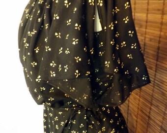 Vintage 70s Near Sheer Flutter Sleeve Scarf Hem Calico Disco Midi Dress LBD S Free shiping