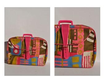 1970s vintage MOD bag purse small suitcase JAPAN pink art carry on bag 70s