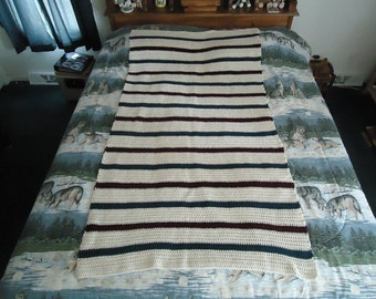Off White, Claret and Cape Cod Blue Hand Crocheted Stripes Afghan - Blanket - Throw - Home Decor