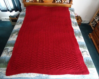 Claret Hand Knitted Chevron Afghan, Blanket, Throw - Home Decor