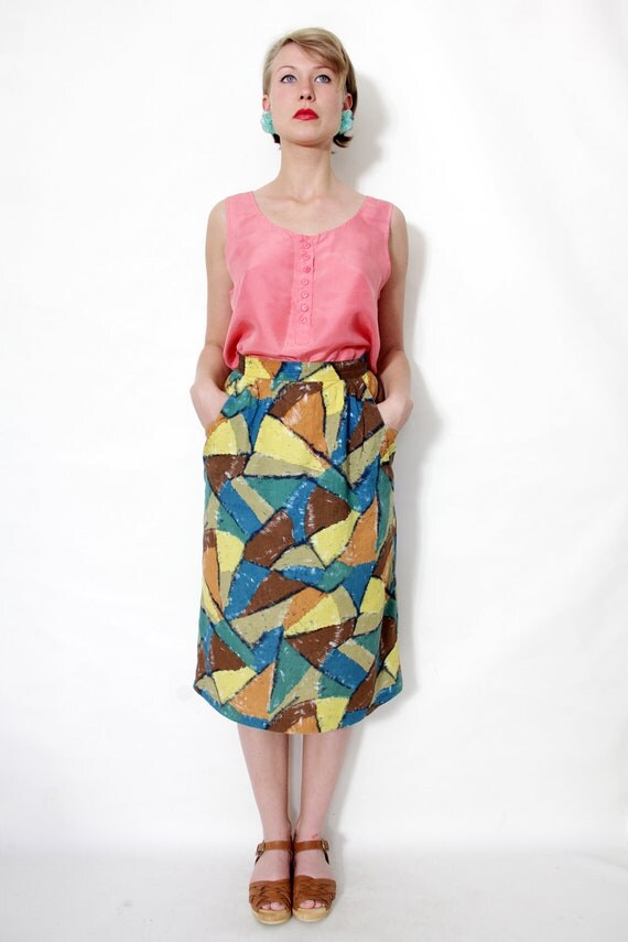 Vintage skirt / abstract printed colorblock skirt / size M