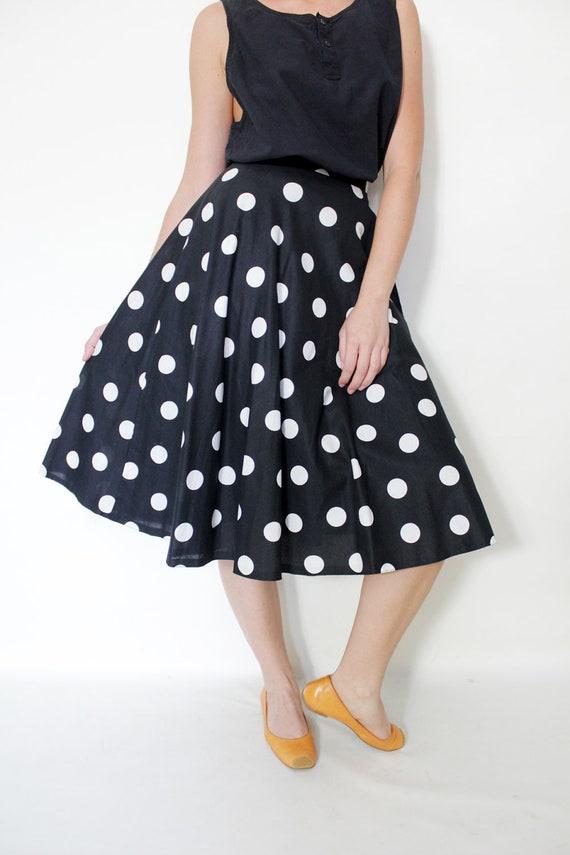 vintage skirt black and white polka dot midi skirt size s