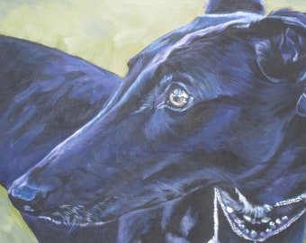 Greyhound portrait art print CANVAS print of LA Shepard painting 12x16 giclee dog art