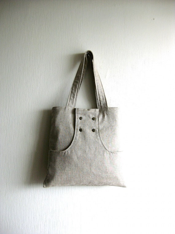 Black Friday Sale - 20% OFF - Prices already reduced - Linen Tote Bag, linen purse, handbag, shoulder bag - Dulce Tote Bag in natural linen