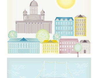 Helsinki Art Skyline Print, Cityscape Poster Illustration, Harbour Cathedral, Home decor, Kids room and Nursery, Pastels