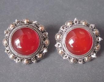 Carnelian Gold foil massive Silver sterling  Stud Earrings / carnelian / 1 inch diameter / silver 925 / Bali handmade jewelry