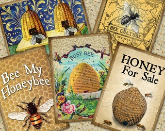 Honeybee / Bees / Beehive / Honey / Printable ACEO Tags - Instant Download and Print Digital Sheet