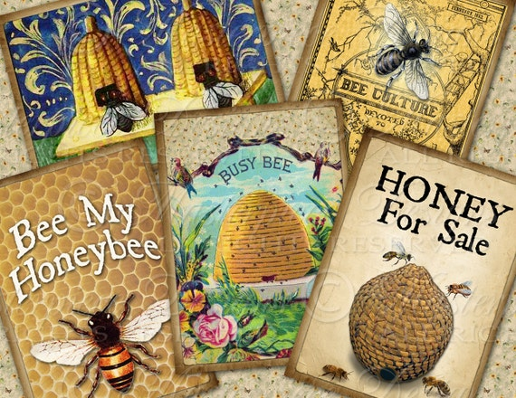 Honeybee / Bees / Beehive ACEO Tags - Download and Print Digital Sheet