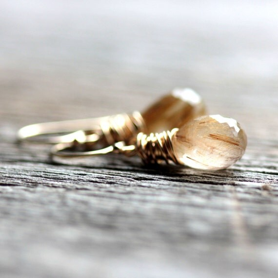 Golden Rutilated Quartz Earrings Wire Wrapped in Gold - Filament - Winter Holiday Christmas Fashion