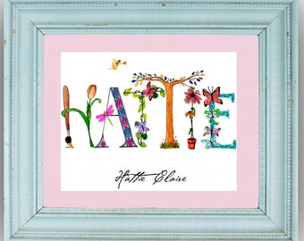 11X14 Matted Personalized Name Art