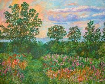 SUMMER PATH Art 40x30 Impressionist Oil Painting by Award Winning Artist Kendall F. Kessler