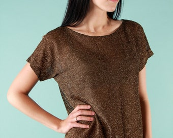 Vintage Sparkly Shirt Glitter S M Top Copper Gold Disco Semi Sheer Shimmery