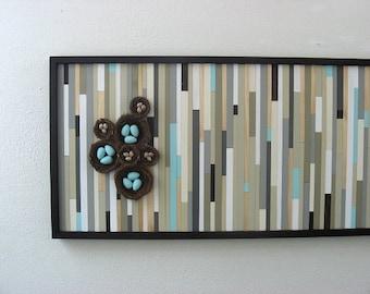 Abstract Painting, Bird Art, Bird Nest, Wood Art, Wooden Wall Art with Birds Nest