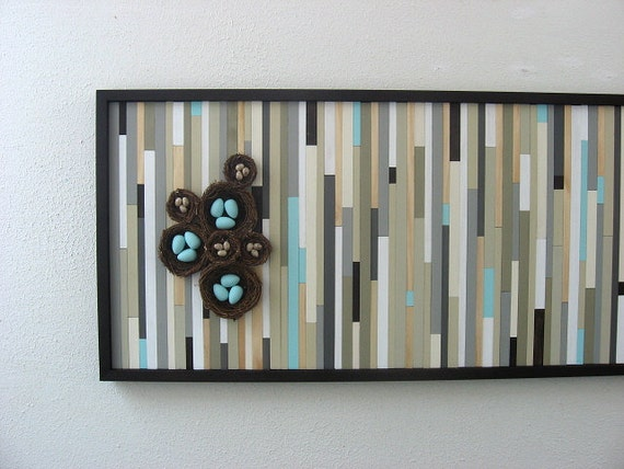 Abstract Painting, Bird Art, Bird Nest, Wood Art, Wooden Wall Art with Birds Nest