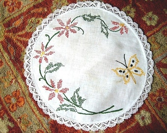 Embroidered tablecloth linen FLOWERS Linen Round doily runner TOPPER Yellow BUTTERFLY