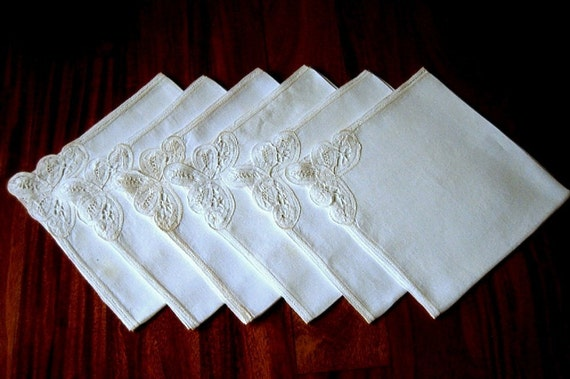 NAPKIN Set Embroidered Hand Stitched LINEN Battenberg Tape LACE 6 Antique White