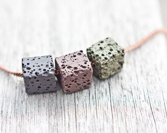 Necklace Lava Stone Cube Copper Dark Gray Brown Khaki Modern Geometric Jewelry boho urban minimalist