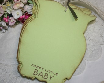 Baby Shower Wish Tree Tags  - Baby Neutral - Lime Green Owls -  Set of 12