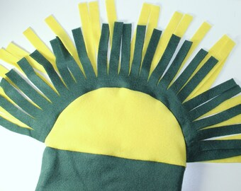 Green and Yellow Packers Mohawk Polar Fleece Hat