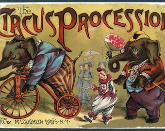 "Vintage Circus Poster ""Circus Procession"" Victorian Circus Print - Antique Carnival Bright Cheerful Color Animals"