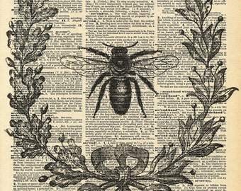 Vintage Book Print - Bumble Bee Wreath - Recycled Antique Dictionary Book Print - Insect Bug Honey Bee - Victorian Wreath Print