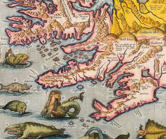 "Antique Surreal Map Print ""Monsters of the Deep"" Europe Map Sea Monsters Illustration"