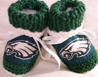 Custom handmade knit NFL PHILADELPHIA EAGLES baby booties 0-12M-cute gift photos