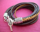 Womens Leather Bracelet, Five Strand, Double Wrap, Antique Brown / Natural, Womens Gift, Womens Bracelet, Womens Jewelry, Mothers Day